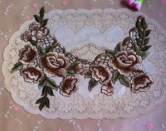 3pcs 37x18x14cm wide brown embroidered lace collars appliques patches 4331 free ship