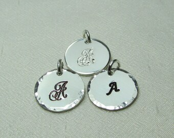"""Personalized Charm - Stamped Medium 1/2"""" Disc Sterling Silver Monogram Name Charm for Initial Necklace or other MesmericJewelry Item"""
