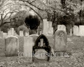 Cemetery Art Photography Black and White - Haunting the Boneyard by Nightside INK #C004
