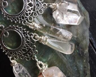 Phantom quartz chandelier earrings