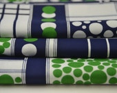 """Vintage Blue and Green Retro Fabric 61"""" x 56"""""""