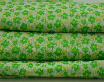 "Vintage Fabric Green Flower Print Stretch Polyester 1 3/4 yards 84 "" wide"
