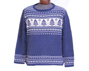 Women's Christmas Tree Sweater Blue Fair Isle Pattern Size Medium