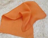 "Beautiful Solid Orange Silk Pocket Scarf Square 16"""