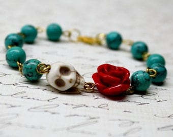 Turquoise Bracelet, Day of the Dead Bracelet,  Sugar Skull Bracelet,  Christmas Bracelet, DOD Jewelry, Muertos Bracelet