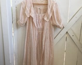 1950s/60s vintage pink liberty rose print peignoir nightgown xs/s