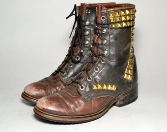 awesome vintage gold studded roper boots womens size 5.5