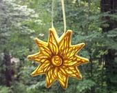 Sun Ornament, Handmade Hanging Ornament, OOAK Sun Ornament, Sugar Fun Ornament