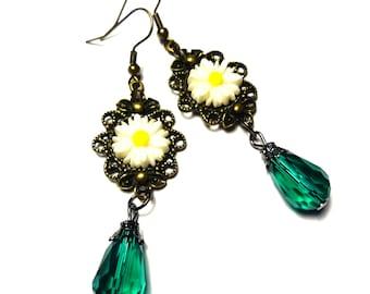 Summer earrings pendants, green, flower, oxide * READY TO SHIP*