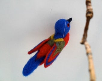 Needle felted bird painted bunting