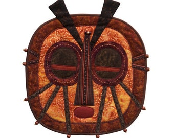 """Quilted Tribal Mask - Wall Hanging - BUG-EYED SPIDER -12.5""""w x 14.5""""h"""