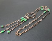 Handmade Hammered Copper & Green Turquoise Necklace, Antiqued Copper OAK One of a Kind BOHO Necklace