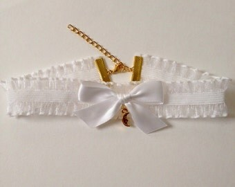 White Ruffle Choker with Bow and Crescent Moon Charm