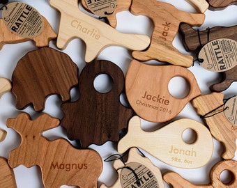 Three Personalized Wood Rattles, eco-friendly wooden toy organic finish, you choose the designs