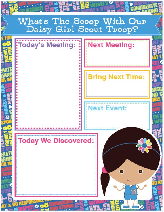 Daisy Girl Scout Agenda Meeting Handout Printable Instant