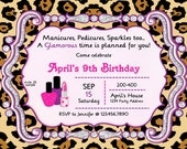 Glamour Party Invitation Birthday Party Leopard Print Glamour Party Invites - Purple Pink Digital JPEG File #28