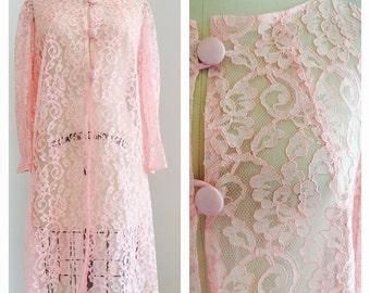 50's M/L Sheer Pink Lace Overcoat Jacket Bubblegum vintage