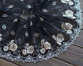 2 Yards Embroidered Lace Trim Rose Floral Embroidered Black Tulle Lace Trim 7.48 Inches Wide