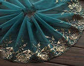 2 Yards Lace Trim Exquisite Gold Rose Flowers Embroidered Deep Green Tulle Lace 7 Inches Wide High Quality