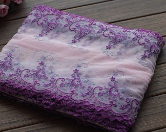 2 Yards Lace Trim Exquisite Purple Flowers Embroidered Pink Tulle Lace 9.84 Inches Wide High Quality