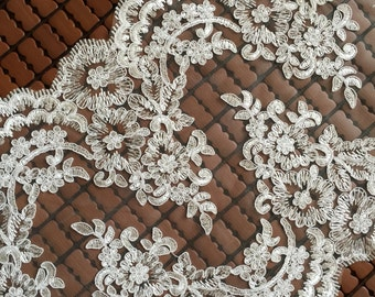 Ivory Alencon Lace Fabric Floral Wedding Lace Fabric Dress Coat Fabric 11 Inches Wide 1 Yard