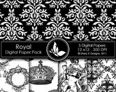 50% off Printable Royal Paper Pack 5 - 5 Digital papers - 12 x12 - 300 DPI