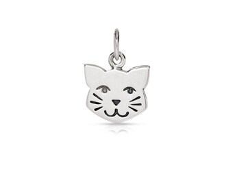 Sterling Silver 14.5x10mm Kitty Cat Face Charm - 1pc (7685)/1