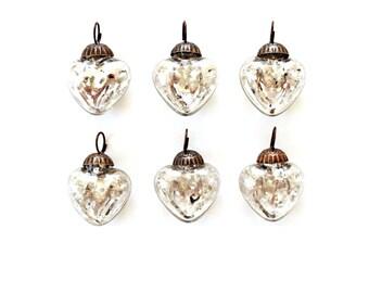 2 Silver Heart . heart ornament . Mercury Glass Ornaments -  glass heart . mercury heart ornaments . heart shaped