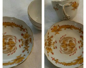 "Meissen Demi Cup & Saucer in ""The Opulent Court Dragon"" (yellow) pattern circa 1930  #DSC"