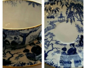 Oriental scene cup & saucer by Royal Crown Derby circa 1923-1938  -DR