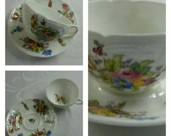 ON SALE- Rare Hand Painted Coalport Cup & Saucer in the Sevres pattern circa 1891-1920-  961