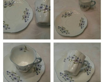 "Shelley Tea Cup and Saucer; Demi; Titled, "" Blue Rock""  circa 1945-1966-  DR"
