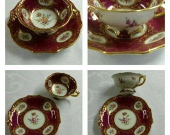 Dresden Tea Cup and Saucer; Small; 19th Century By Ambrosius Lamm circa 1890's     #DSC