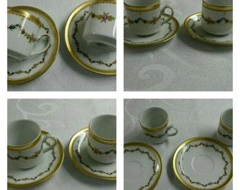 A Pair of Handpainted Tirschen-Reuth demitasse cup & saucer -937