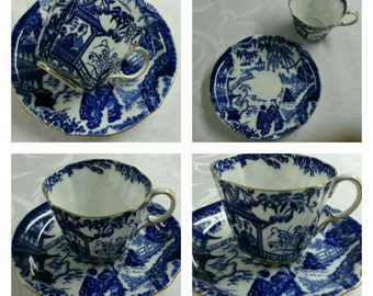 ON SALE- Oriental scene cup & saucer by Royal Crown Derby in the Mikado pattern circa 1941-1950  -943