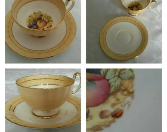 Hand Painted, Sandy, Aynsley cup & saucer signed by D. Jones circa 1950's  -DR