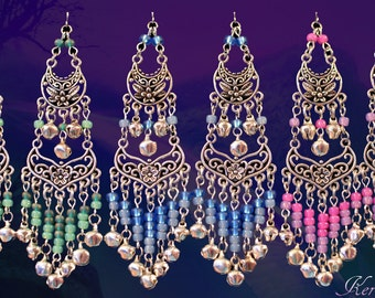 "FREE SHIPPING!- Silver Gypsy Bellydancer Earrings, Pastel Ombre Chandelier Earrings, 4"", Rainbow, Pink, Blue or Green Color Options, Pretty!"