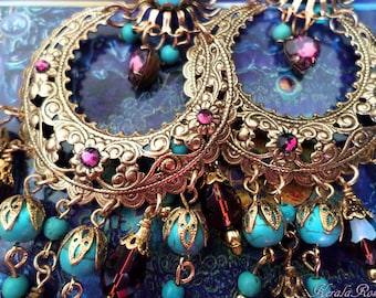 Large Exotic Moroccan Moon Earrings, Turquoise Bohemian Gypsy Chandelier Earrings, Purple Crystal, Silver, Gold or Bronze, Clip-On OPtion