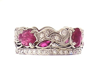 One-of-a-Kind VINTAGE Platinum, DIAMOND and Ruby Wedding BAND Circa 1920