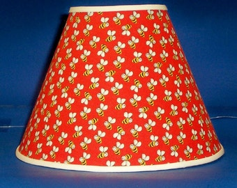Bees on Red Lamp Shade