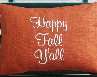 Monogrammed Outdoor  Fall Pillow Cover in Burnt Orange - Happy Fall Y'all