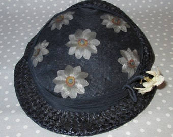 PRICE DROP! Child Size Vintage Hat Straw Blue with White Daisy Flowers by Powers Minneapolis Cap Photo Prop