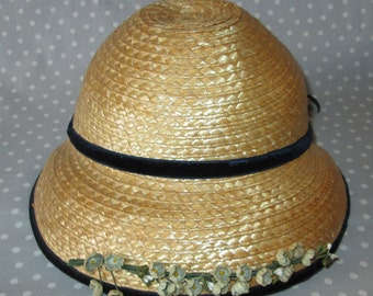 NOS Child Size Vintage Hat Cap Brim Straw Dark Blue Velvet Band Spring Bonnet