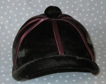 Child Size Vintage Hat Brim Brown Velvet with Satin Trim