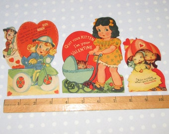 Vintage Valentine Lot of 3 Cards Girl Dog Animals Kitten Very OLD (I)