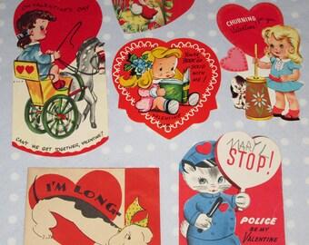 Vintage Valentine Lot of 6 Cards Kitten Kittens Cat Dog Horse Foldable Girl (LL)