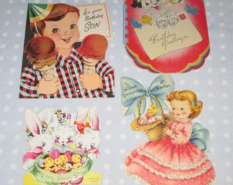 OLD Vintage Valentine Birthday Easter Lot of 4 Cards Boy Ice Cream Bunny Girl (RR)