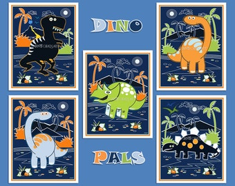 "M2M Circo Dino Friends Collection-Set of 5 Dino Prints- 8"" x 10"" or 11"" x 14"", Dinosaur Art- Colorful Children's Art-Kid's Room Dino Decor"
