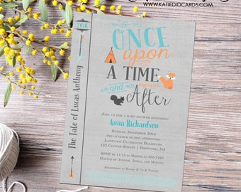 Once upon a time baby shower storybook once upon a baby boy hipster teepee arrows tribal fox squirrel cover bring a book couples item 12116