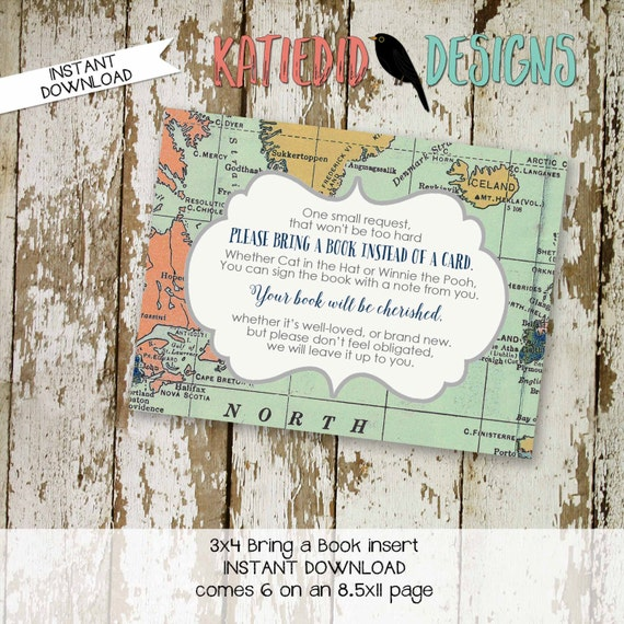 Bring a Book instead of a card insert INSTANT DOWNLOAD item 1466 printable insert enclosure card build a library hot air balloons world map